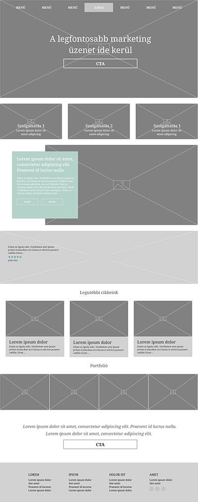 Ingyen weboldal design wireframe